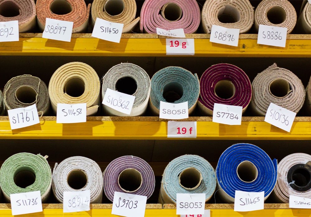 A selection of carpet remnants in our warehouse